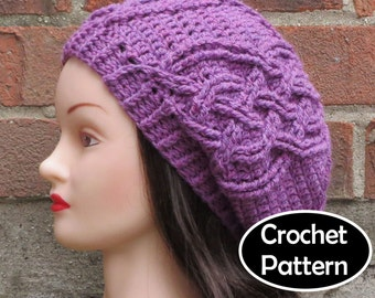fb07dcf11e4 CROCHET HAT PATTERN Instant Download Pdf - Eithne Cabled Slouchy Beret Tam Beanie  Womens Teens- Permission to Sell English Only
