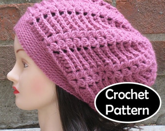 1425eec0c86 CROCHET HAT PATTERN Pdf Instant Download - Gabrielle Slouchy Beanie Hat  Womens - Permission to Sell English Only