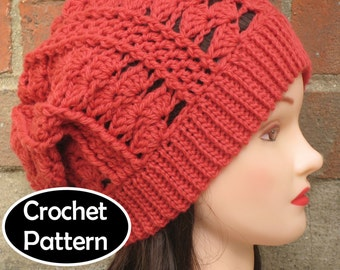 c121ce021a8 CROCHET HAT PATTERN Instant Download Pdf - Clara Slouchy Beanie Hat Womens  Teens - Permission to Sell English Only