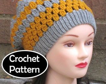 2edd77e9681 CROCHET HAT PATTERN Instant Download - Ashlyn Slouchy Beanie Womens -  Permission to Sell English Only