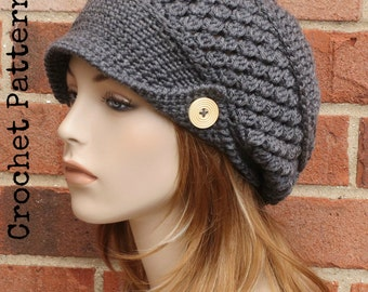 CROCHET HAT PATTERN Instant Download Pdf - Finley Newsboy Slouchy Brimmed Beanie  Hat Womens - Permission to Sell English Only cc5c35f86d