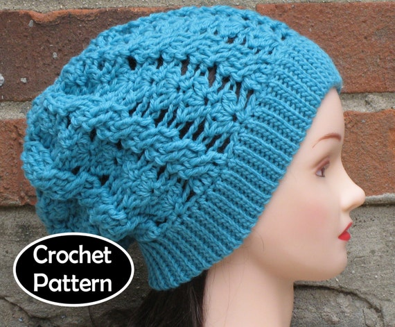 69ee4ce1df4 CROCHET HAT PATTERN Pdf Instant Download - Flora Cabled Slouchy Hat Womens  Teen - Permission to Sell English Only