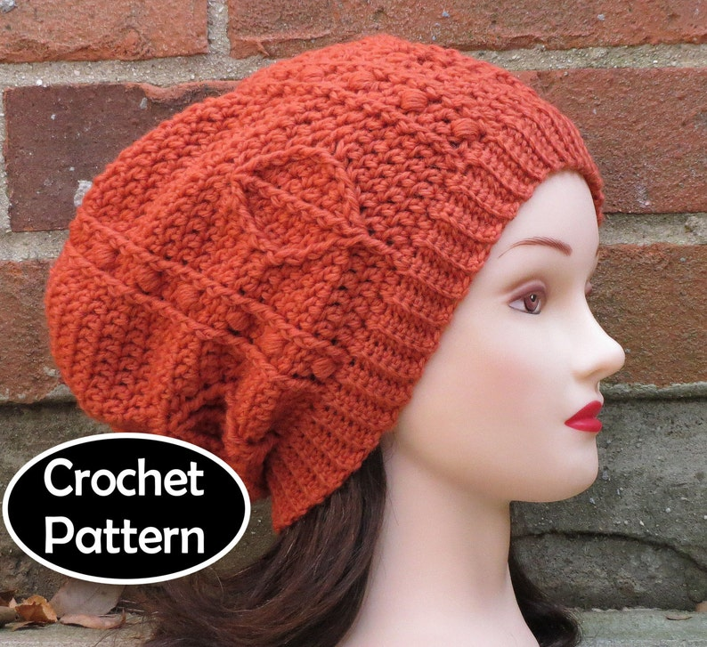 484af42dece CROCHET HAT PATTERN Instant Download Sienna Slouchy Beanie