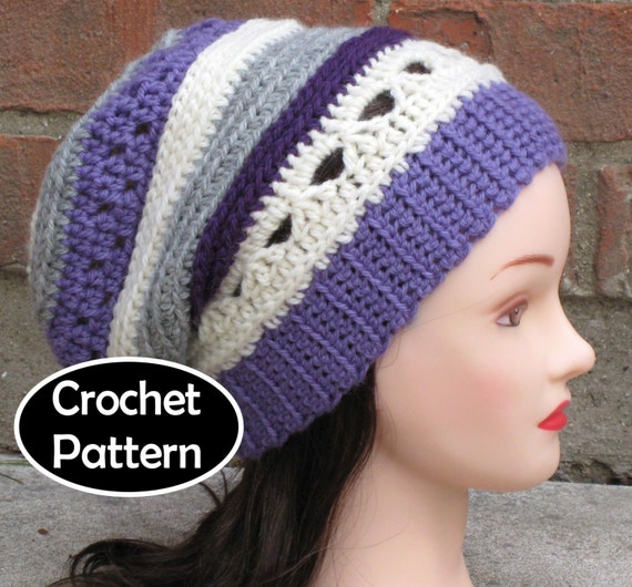 Crochet Hat Pattern Instant Download Sammie Slouchy Striped Etsy