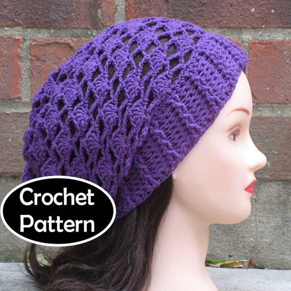 Crochet Hat Pattern Instant Download Jasmine Slouchy Beanie Etsy