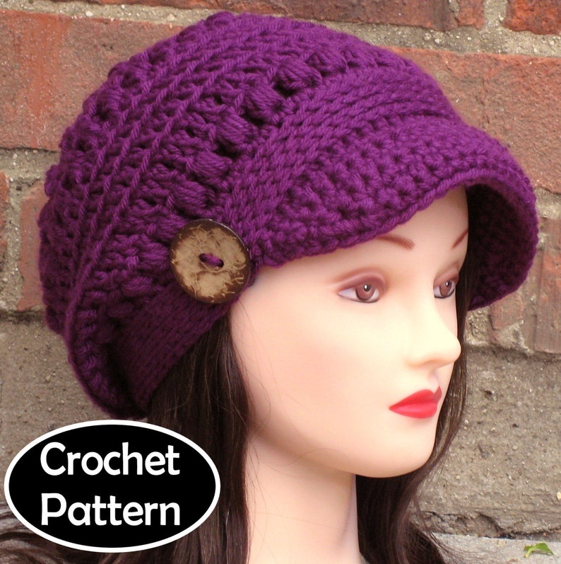67c93718765 CROCHET HAT PATTERN Instant Download Pdf Brooklyn Newsboy