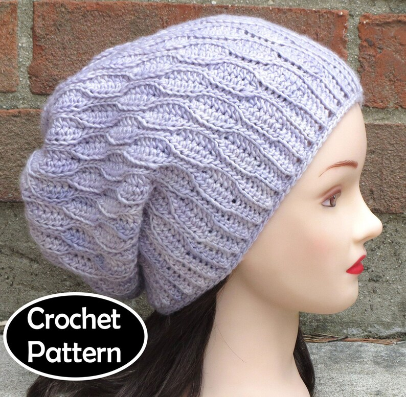 b2d3b3bfc44 CROCHET HAT PATTERN Instant Download Pdf Elise Slouchy Hat