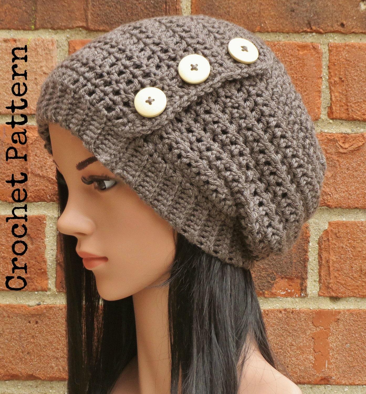 Crochet Hat Pattern Instant Pdf Download Hadley Slouchy Etsy