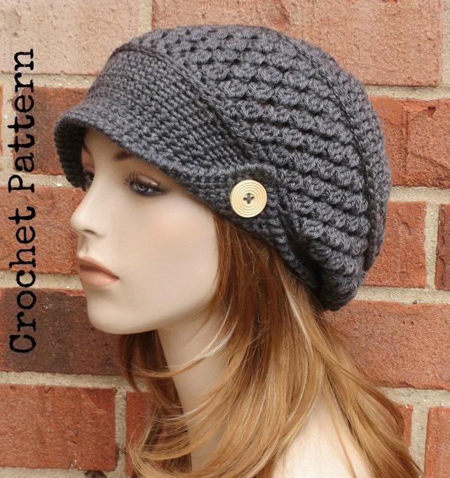 Crochet Hat Pattern Instant Download Pdf Finley Newsboy Etsy