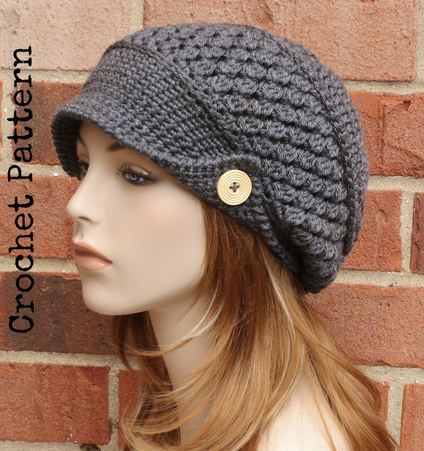 1a74c4f8085 CROCHET HAT PATTERN Instant Download Pdf Finley Newsboy