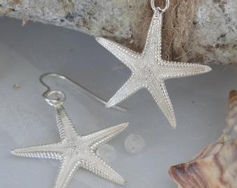 Silver Starfish Earrings-large starfish earrings-sterling silver starfish earrings-nature jewellery-beach jewellery-summer earrings