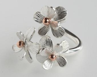 Handmade Adjustable Silver Daisy Flower Ring-Flower Ring-Floral Ring-Daisy Ring-Botanical Ring