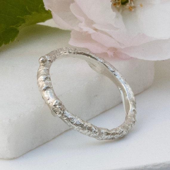 Plain Silver Twig Ring Woodland Twig Wedding Band Unisex Etsy