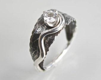 Silver Woodland Leaf Ring, Leaf Engagement Ring, Rustic Ring