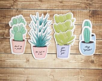 Vinyl Plants Set / Succulents Sticker Set / Cactus / Plant Puns / Planters / laptop, water bottle, book stickers
