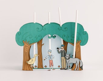 Peter and the Wolf Puppet Theater Printable PDF- DIY Craft Kit - Child Toy - Play & Pretend - Animals