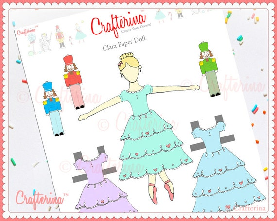 Clara from the nutcracker paper doll craft kit diy print and solutioingenieria Image collections