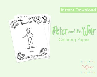 New! Peter and the Wolf PDF Coloring Sheets (7 pages) - Printable - Ballet - Paper Goods - Toy - Children - DIY