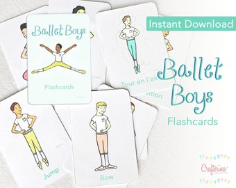 PDF Printable Ballet Boy Flashcards - DIY Craft Kit - Party Favor- Educational Child Toy - Play & Pretend
