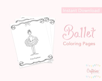 Ballet PDF Coloring Sheets (11 pages) - Printable - Ballet - Theater - Paper Goods - Toy - Children - DIY