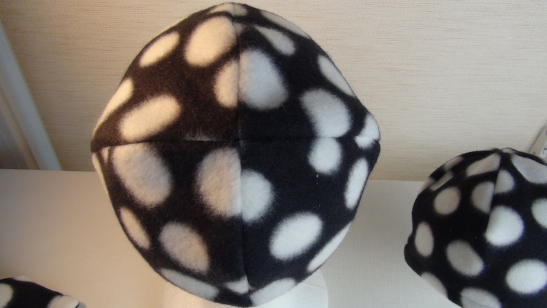 Polka Dot Hat-Black Hat with White Dots in Stretch Fleece-Super Comfortable-One Layer-Halloween or Fall Cool Weather Hat-For Baby or Teen