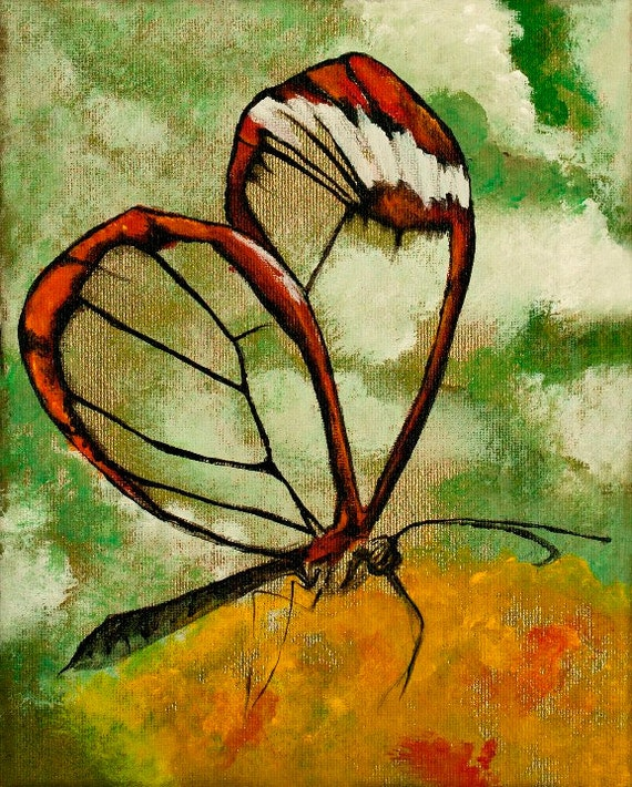 Glasswinged Butterfly Acryl Auf Leinwand Etsy