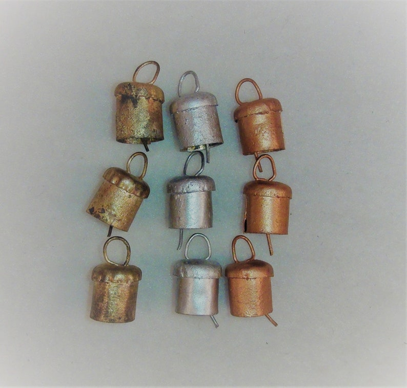 3 COPPER-So Sweet /& Tiny-Use in Jewelry as Charms Earrings Pendants Craft Projects 3 GOLD Bracelets 9 Mini Triangular Bells-3 SILVER