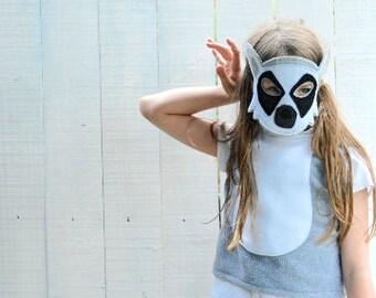 Lemur Costume - Felt Animal Mask, Tail, & Vest - Wool or Eco Felt