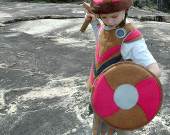 Viking Shield - PINK and BROWN -  Kid Costume, Adventure Gear