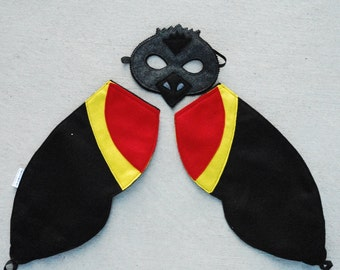 Red Winged Black Bird Costume - Mask, Wings, Mask & Wing Combo Pack