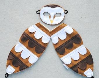 Barn Owl Costume - Felt Animal Mask - Wool or Eco Felt - Mask and Tail Costume Gift Set