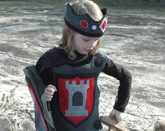 Knight Body Armor, Felt Breastplate, RED and BLACK Halloween Costume, Kid Costume