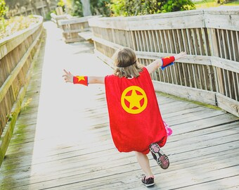 Super Hero Cape RED and BLUE - Super Cape - Birthday Cape - Super Hero Cape - Halloween Costume - Halloween Costume - Kid Costume