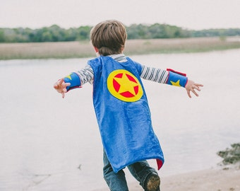 Super Hero Cape BLUE and RED - Super Cape - Birthday Cape - Super Hero Cape - Halloween Costume - Halloween Costume - Kid Costume