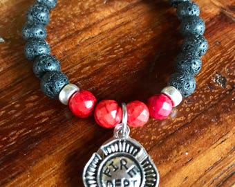 Firefighter prayer yoga bracelet in lava stone and red turquoise gemstone beads and fire department and St. Florian medals.