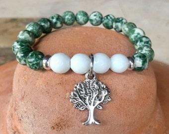 Tree of life green spot gemstone healing yoga bracelet.