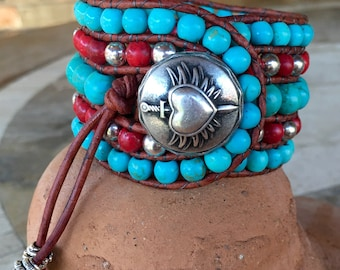 Beaded Cuff Bracelet, chalk turquoise and red with metal beads, genuine leather wrap bracelet with metal button closure