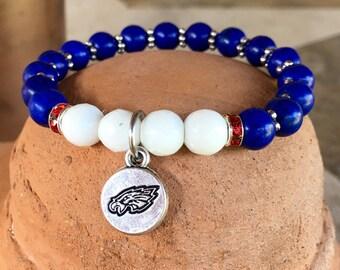 Allen Eagles Team Spirit Bracelet: Yoga bracelet in team colors with eagle charm - optional wrestling charm!