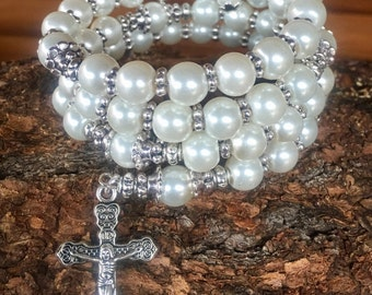 Handmade 5 decade rosary wrap bracelet with glass pearl and tibetan silver beads. Memory wire cuff bracelet with five decades