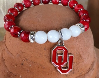 OU Sooners spirit bracelet. Yoga bracelet with red natural turquoise and white jade faceted beads and OU charm