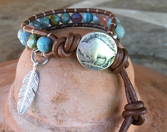 Natural agate gemstone leather wrap bracelet handmade with buffalo design pewter button clasp.