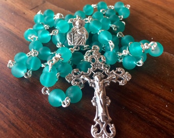 Rosary, handmade with frosted glass turquoise beads and silver crucifix and St. Jude station.