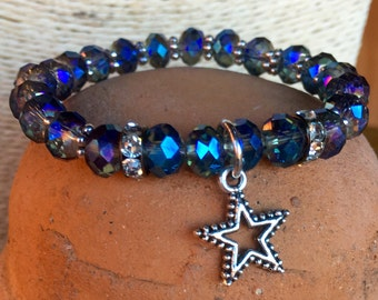 Stretch #DallasCowboys themed bracelet. Yoga bracelet with metallic blue glass faceted crystal beads