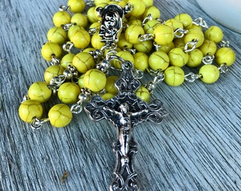 Rosary, handmade in bright yellow turquoise beads with ornate crucifix and mother and child center station