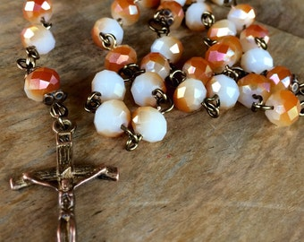 Rosary, handmade with faceted glass beads and tibetan copper crucifix and station