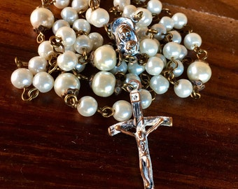 Rosary, handmade with glass pearl beads and tibetan copper crucifix and station
