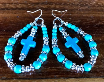 Handmade large hoop statement earrings in turquoise and tibetan silver with center cross