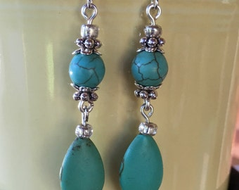 Handmade turquoise and tibetan silver earrings