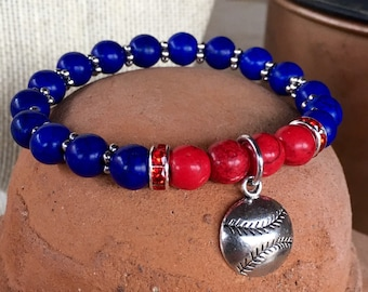 Texas Rangers themed bracelet. Yoga bracelet with blue and red turquoise beads, rhinestone spacers and baseball charm