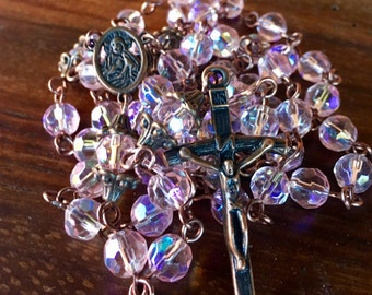Rosary, handmade with pink glass crystal beads and tibetan copper crucifix and station